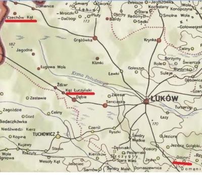 Wycinek z mapy, Stefan Wojciechowski, woj. lubelskie w II poł. XVI w.,W - wa 1966