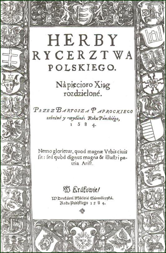 Okładka reprintu herbarza Bartosza Paprockiego wyd. przez WAiF, W-wa 1988