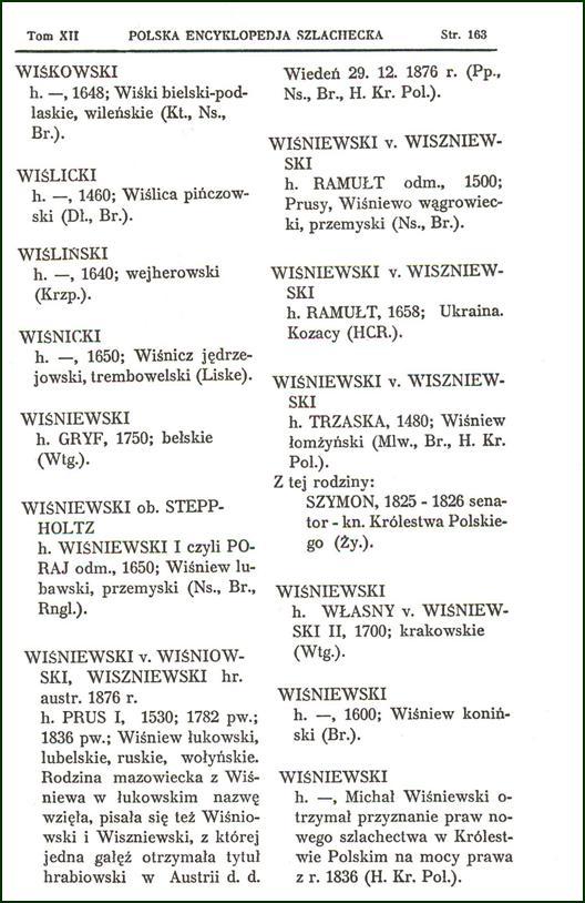 Polska encyklopedia szlachecka T. XII s. 163, opr. S. J. Starykoń - Kasprz. i Dmow., 1994