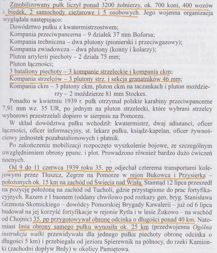 Wypis z: Jerzy Kirszak, 35 Pułk Piechoty, Pruszków 2000