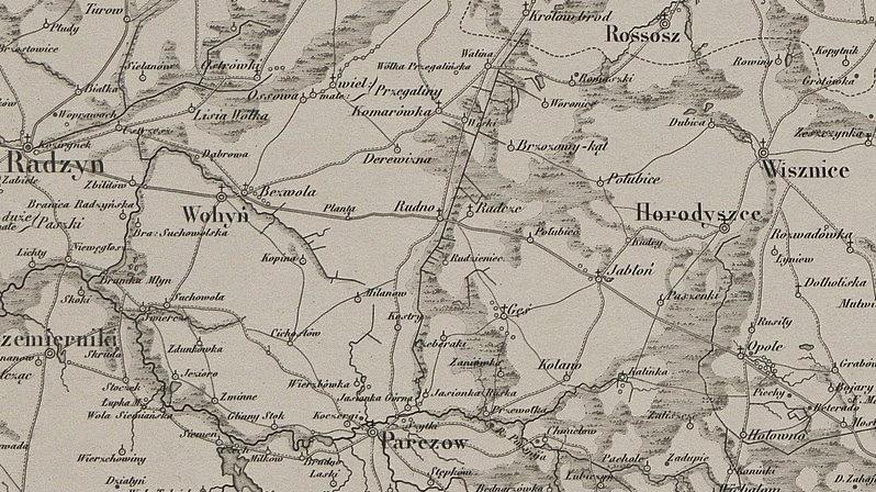 Wycinek z mapy, W. Chrzanowski, Karta dawnej Polski, 1: 300 000, 1859 r. ze zbiorów Kujawsko - Pomorskiej Biblioteki Cyfrowej.