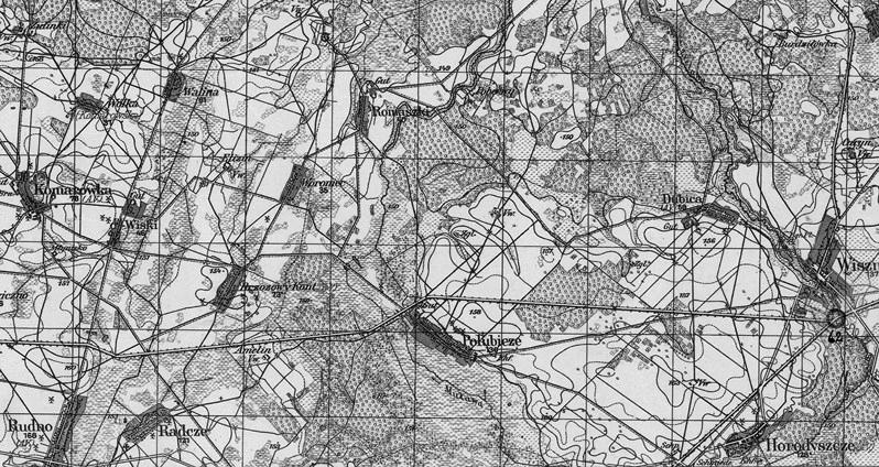 Wycinek z mapy - Karte des Deutschen Reiches - Mapa Rzeszy Niemieckiej, 1938 r. ark. 359 Łuków.