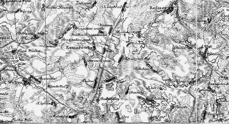 Wycinek z mapy: Heldensfeld- Benedicti, Carte von Vest - Gallizien. Łuków, Międzyrzec, Parczew, / 1804 r. /