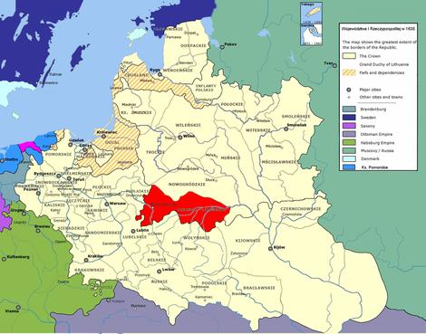 Województwa I Rzeczypospolitej w 1635 r. Woj. brzeskolitewskie./ wikipedia /