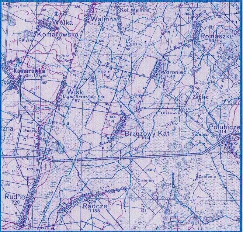 Wycinek z mapy Woj.Instytutu Geogr., W-wa 1938, Łomazy, pas 41, słup 36