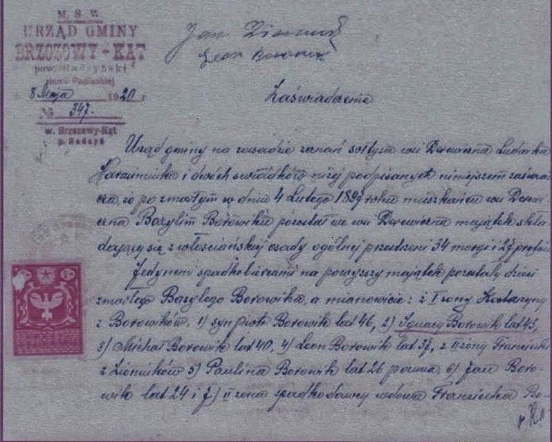 Dokument w posiadaniu Jana Wiśniewskiego