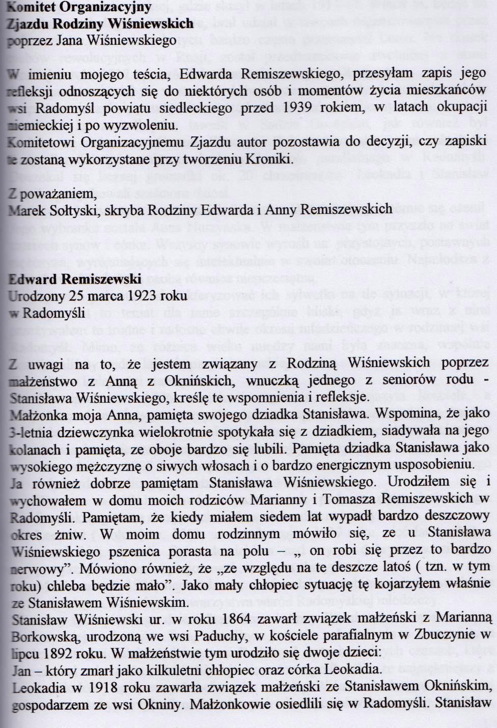 Wspomnienia Edwarda Remiszewskiego