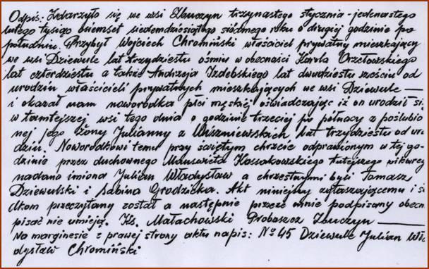Akt urodz. Juliana Chromińskiego,tłum. z jęz. rosyjskiego, oryg. w Oddz. AP w Siedlcach.