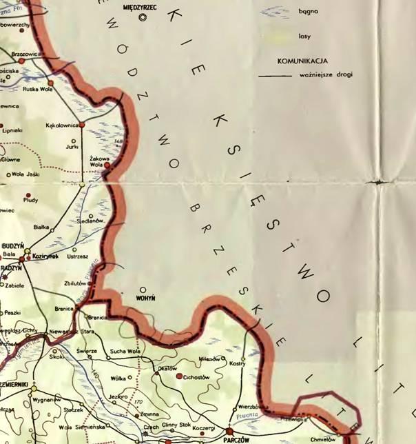 Wojciechowski S., wycinek mapy woj. lubelskiego w II poł.XVI w., W- wa 1966