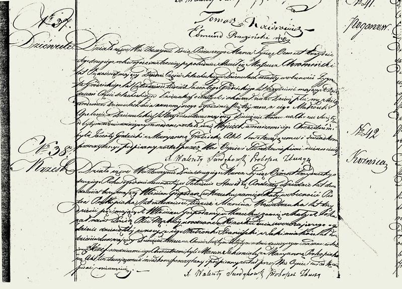 Akt urodz. nr 37 dotyczy urodzenia Wojciecha Chromińskiego s. Mateusza i Apolonii z Dziewulskich w dniu 28 lub 29 lutego 1832 r., chrzest odbył się 01 marca 1832 r. w Zbuczynie, chrzestnymi byli : Jacenty Grodzicki i Maryanna Grodzicka z Dziewul. Żródło : AP w Siedlcach